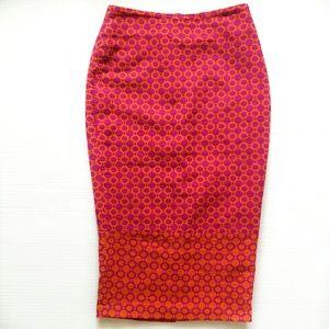 ASOS Midi Pencil Skirt Orange & Pink Ombré 6